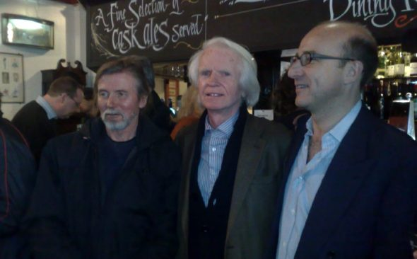 (left to right) Peter Moore, Ronan O'Rahilly and Paul McKenna at the reunion for Caroline staff on March 28th 2009