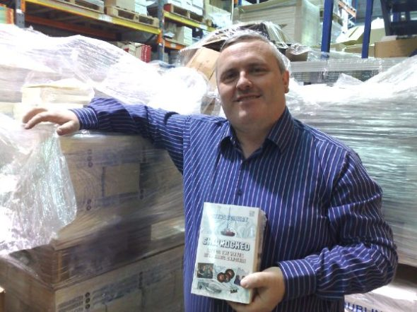 At the distribution warehouse in south Dublin, surrounded by pallet loads of copies of Shiprocked, about to go out to the bookstores!