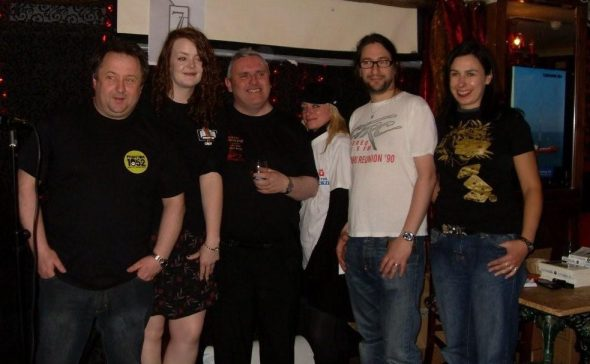 The radio t-shirt line-up with Phantom 105.2 staff (left to right) Ger Roe, Fiona Scally, Steve Conway, Anne Marie (in Radio Jackie t-shirt!), Sinister Pete and Pearl