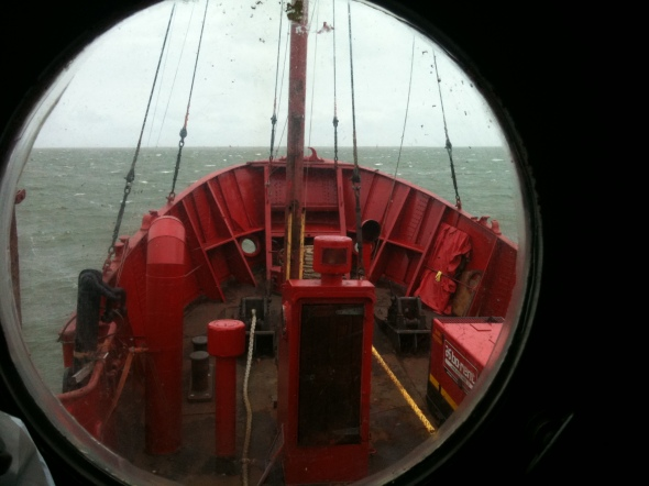 Lookingtowards the front from porthole at bridge level, outside studio.