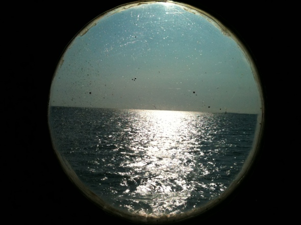 Let's look through . .the round window. Whatt do we see . . the empty sea.