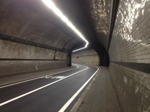 Below ground - walking through the Rotherhithe Tunnel in east London. I'd always wanted to do this walk too!