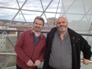 Simon Maher (left) 8Radio.com founder, with Steve Conway (file photo)